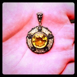 Jewelry - Antique Victorian Sterling Citrine Pendant